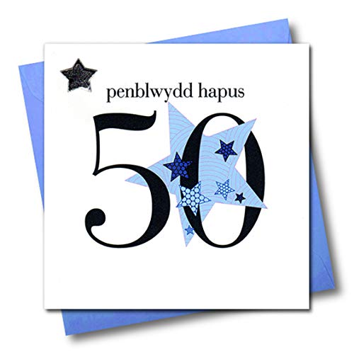 Claire Giles Hearts and Stars Welsh Penblwydd Hapus Happy 50th Birthday Card - Blue