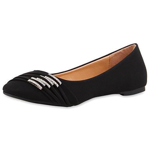 SCARPE VITA Klassische Damen Ballerinas Strass Flats Modische Schuhe 160370 Schwarz 37