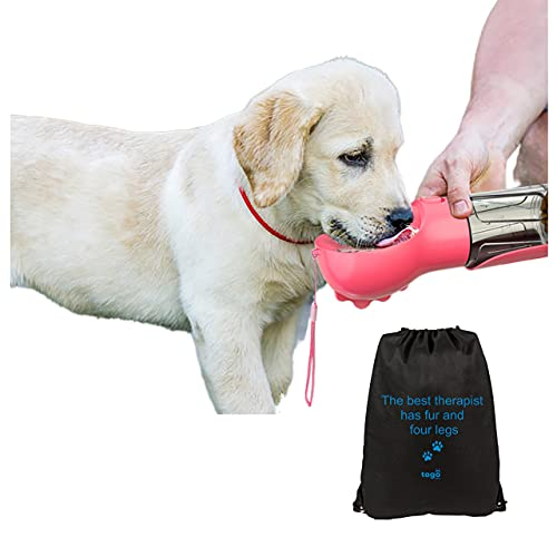 Dog Water Bottles for Walking (Pink, 300ml) Portable Dog Water Bottle, Dog Water Bottles, Water Bottles for Dogs, with dog water bowl and poo bag dispenser + dog walking bag.