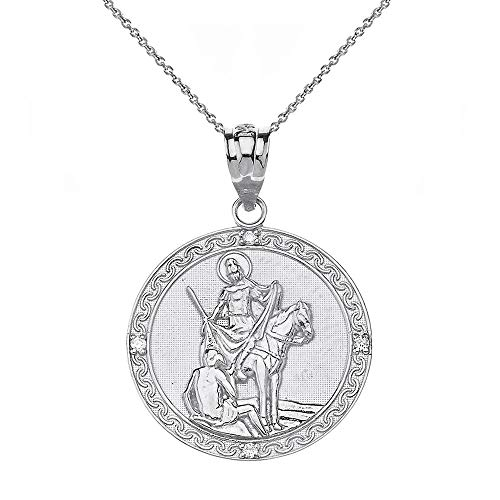 925 Sterling Silver St. Martin Of Tours CZ Religious Round Medal Necklace (1