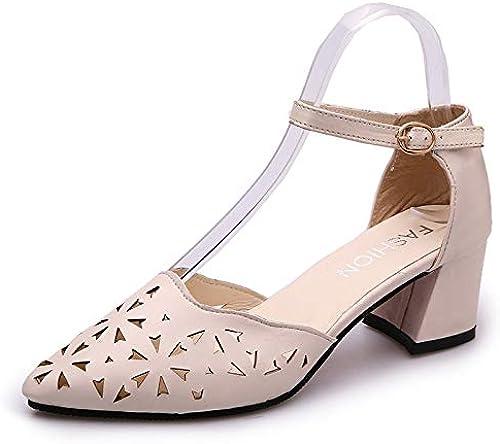 ZJYSM Sandales D'été Femme avec Baotou Creux avec des Chaussures pour Femmes Sauvages Les Les dames Et Sandales Hautes Sauvages des Chaussures (Couleur   Beige, Taille   36)