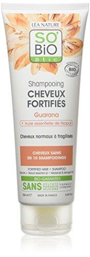 SO'BiO étic Shampoing Guarana Niaouli pour Cheveux Fortifiés Bio 250 ml - Lot de 2