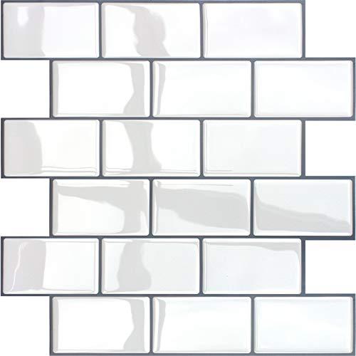 VANCORE モザイクタイルシール 3D タイルシール 【4枚 31*31cm】立体 壁紙シール 洗面所 キッチン 模様替え 防水 耐熱 はがせる リメイクシート レンガ調 賃貸OK 白