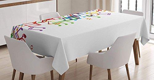 Mantel de colores, notas musicales de estilo artistico Trippy con impresion de armonia de tempo de ritmo de melodia, armonia, cubierta de mesa rectangular para decoracion de cocina de comedor, verde r