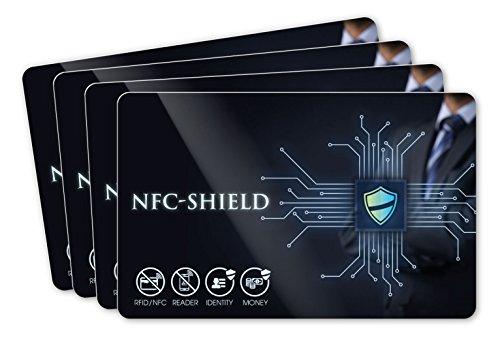 4X NFC Shield Card - RFID & NFC Schutz/Blocker - Made in Germany - Schützt das gesamte Portmonnaie & Kartenetui mit Ihren EC und Kreditkarten - Nie Wieder RFID Schutzhüllen notwendig