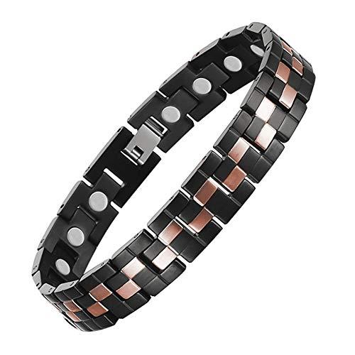 JHKJ Pulseras de recuperación magnética para hombre, pulseras de cobre con imán de titanio puro para alivio del dolor de artritis y túnel carpiano, ajustable, marrón A