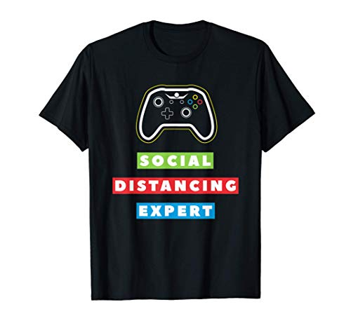 Social Distancing Expert Funny Quarantine Video Gamer Gaming T-Shirt