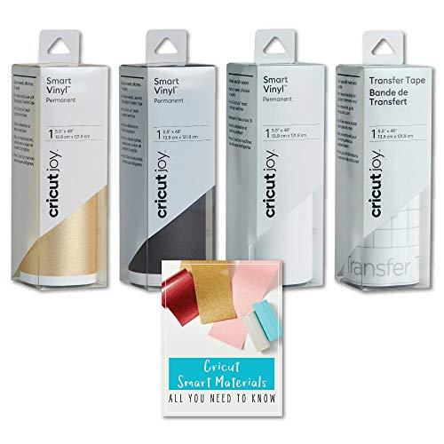 Cricut Joy Smart Permanent Vinyl Roll Bundle, Shimmer Gold, Black and White