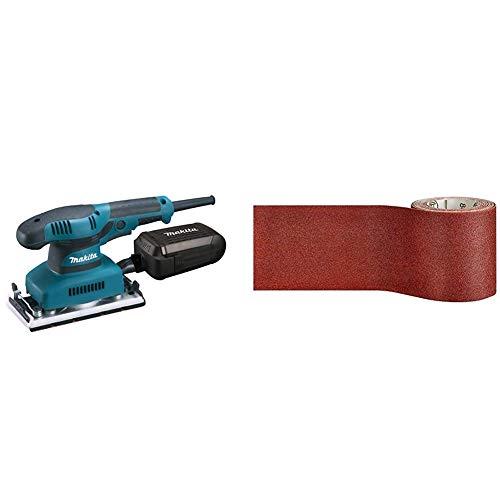 Makita BO3711J Schwingschleifer 190 W im MAKPAC, Schwarz, Blau & Bosch Professional Schleifrolle für Weichholz, Breite: 93 mm Länge: 5 m Körnung 120 C410)