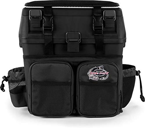normani Angelkoffer Angelbox Angeltasche gepolsterte Sitzkiepe Sitzfunktion Gerätekasten mit Rucksackfunktion und aufgesetzen Taschen - inklusive 4 Tackle-Boxen für Angelzubehör Farbe Schwarz
