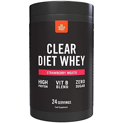Clear Diet Whey Isolate Protein | Bebida Refrescante | Cero Azúcar & Cero Grasas | Vitaminas Energizantes | Mojito de Fresa | THE PROTEIN WORKS | 24 Servicios