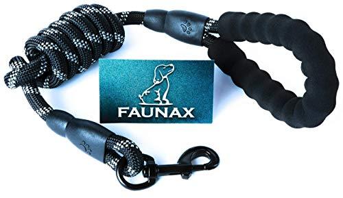 FaunaX 1.5M Hunde-Leine mit bequemen gepolsterten Griff, PremiumQualität mit Karabinerhaken,Reflexnähte,für mittlere bis große Hunde, passend zu jeden Hunde-Halsband, Hundegeschirr Zubehör-Hund