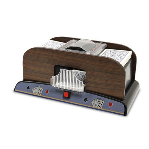 2 Deck Automatic Deck Shuffler - Deluxe Electric Wooden Playing Card Machine - Classic Casino Dealer Equipment & Tabletop Gaming Accessories - Bicycle, Pokemon, Magic The Gathering, Yugioh TCG