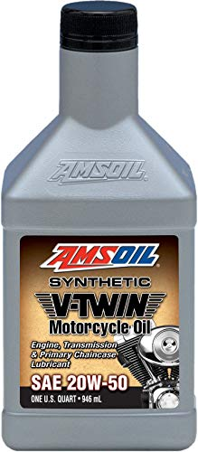 Amsoil MCVQT 20W-50 Synthetic V-Twin Motorcycle Oil, 1-Qt | Engine, Transmission, and & Chaincase Lubricant