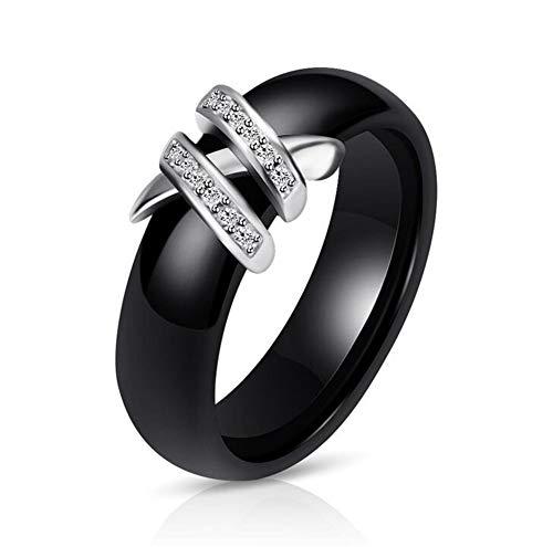 OAKKY Double X Forme Engagement Mariage Bande Bague Femme Céramique Noir Taille 60