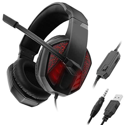 Gaming-Headset mit Mikrofon-LED-Licht Geräuschunterdrückung über Ohrhörer Stereoanlage Bass-Surround Ohrenschützer mit Weichem Speicher für Xbox One / PS4 / PC-Computer / Nintendo-Schalter