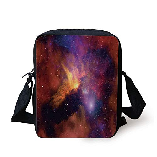 Space Decorations,Space Stars and Nebula Gas and Dust Cloud Celestial Solar Galacy System Print,Purple Red Orange Print Kids Crossbody Messenger Bag Purse