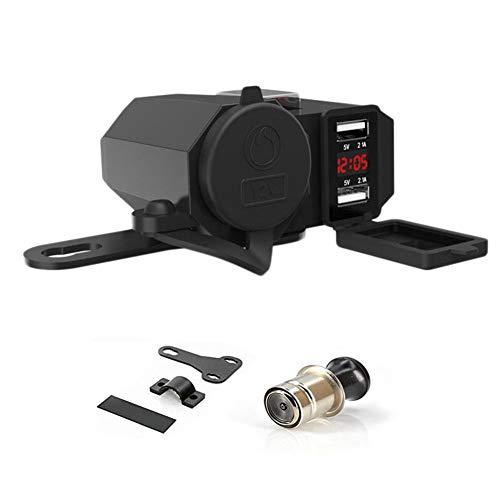 Alioay バイク USB電源 充電器 4.2A シガーソケット USB2ポート急速充電 シガレットライター 付き 電圧計搭載 電源スイッチ付き オートバイのハンドルやサイドミラーに取り付け可能 (電圧計搭載)