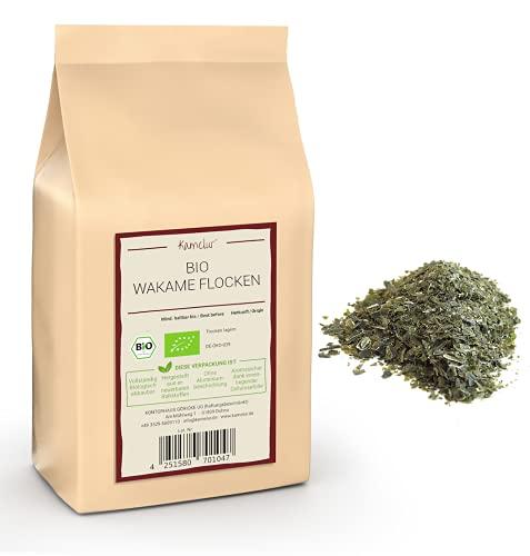 100g di alghe Wakame BIO essiccate - alimenti crudi, fiocchi di Wakame senza additivi - Alghe Wakame BIO in imballaggi ecologici