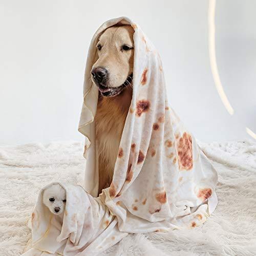 Innopet Burrito Decke für Hund und Katze - 280 Gramm Tortilla Decke - Leichte Komfortable Futterdecke - 100% Flanell Haustierdecke - 76,2 cm Mops Decke - Überwurf Burrito für Hundebett und Katzenbett