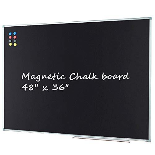 Lockways Magnetic Chalk Board Blackboard, Bulletin Black Board 48 X 36 Inch, Silver Aluminium Frame