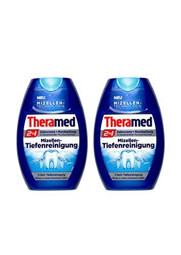 2x Theramed 2 in 1 Zahncreme + Mundspülung Mizellen-Tiefenreinigung 75 ml