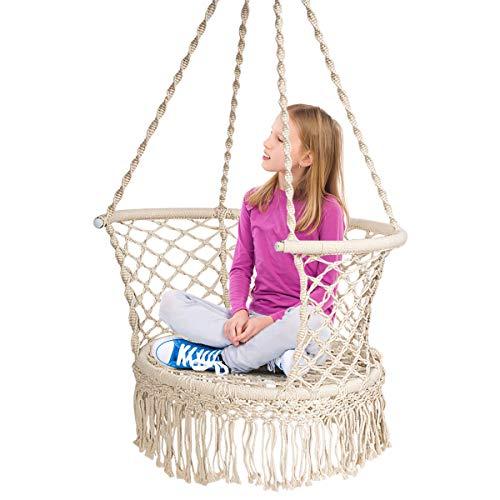 COSTWAY Hängesessel Makramee Hängestuhl Hängesitz Hängeschaukel Swing Sessel 160 kg Tragkraft für Garten Schlafzimmer Wohnzimmer