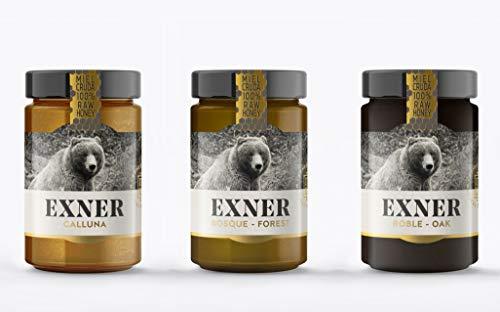 EXNER Miel Cruda 100{73b4f84f3ce0a3afe1f93d21af23ed4c5eca88616cc887f440f677f77479dc2c} Raw Honey Artesana - 3 variedades CALLUNA (420 gr), ROBLE (450 gr) y BOSQUE (450 gr) - Naturaleza y Montaña, Pura, Sin filtrar, Sin pasteurizar, Sin gluten