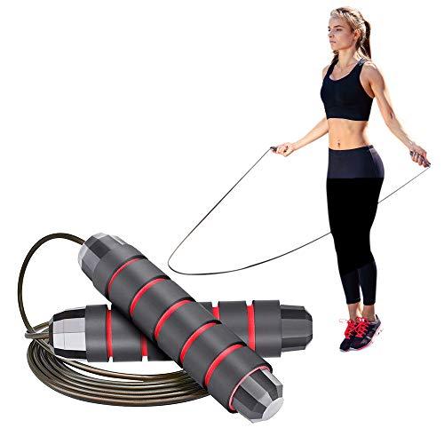 Springseil,Erwachsene Fitness Damen Männer mit Kugellager und Rutschfesten Handgriffe Länge Einstellbar, Drahtseil mit PVC Nagelhaut für Seilspringen, Training und Fitness speed rope 2.8M