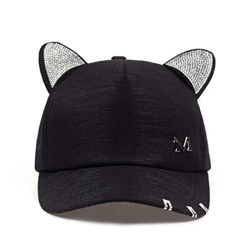 CXKNP Baseball Cap Neue Meow Frauen Sommer Herbst Schwarz Weiß Rosa Hut Katze Ohren Cat Baseball Cap Mit Ringe Und Spitze Nettes Mädchen Hut