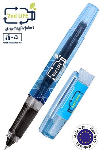 ONLINE Tintenpatronen-Rollerball 2nd Life aus recyceltem PET für eine saubere Umwelt, für Standard-Tintenpatronen, nachhaltiger Patronenroller inkl. 1 Kombipatrone blau