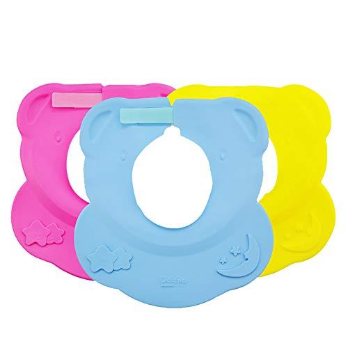 YWANG Gorro de Ducha de Bebé 3 Piezas Set, Plegable Portátil Sombrero de Ducha para Bebé Ajustable Silicona Gorra de Ducha, Reutilizable para Bebé de 6 Meses Más,Azul