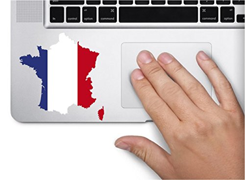 Map with flag inside France 3x3.4 inches sticker decal die cut vinyl - Made and Shipped in USA