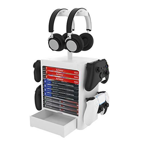 Game Storage Tower - Soporte vertical para 10 CD Game Disc y 4 mandos / soporte para auriculares compatible con PS5/PS4/Xbox Series/XboxOne/Nintendo Switch, color blanco