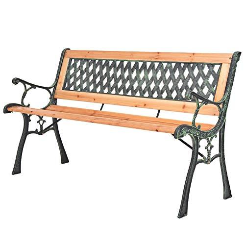 Gartenbank aus Holz, Gartenbank aus Holz und Eisen mit Rückenlehne Nostalgisches Design Gartenbank für den Außenbereich, 122 x 51 x 73 cm