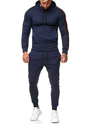 Code47 Herren Jogginganzug Trainingsanzug Männer Sportanzug Fitness Fitnessanzug Outfit Streetwear Jogginghose Hoodie-Sporthose Sportbekleidung Comfort Fit