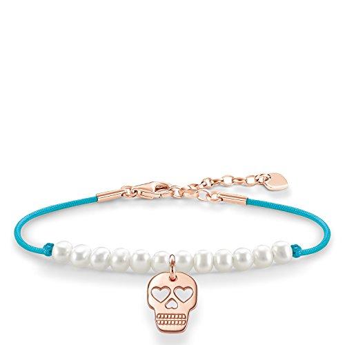 Thomas Sabo Damen-Armband Love Bridge Totenkopf 925 Sterling Silber 750 rosegold vergoldet Nylon Süßwasserzuchtperle weiß Länge von 15 bis 18 cm LBA0079-904-14-L19,5v