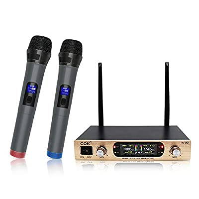 Wireless Microphone System with 2 Handheld Cordless Mics, Dual Channel, Includes Portable Receiver & LCD Display for Party Wedding Music Singing