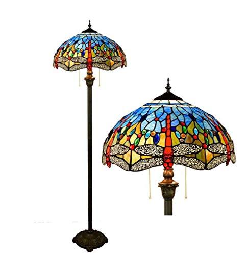Vloerlamp in Tiffany-stijl woonkamer libel met stekker en voetschakelaar met ritssluiting 16 inch blauw getint glas wit getint 64 inch hoog, ijzer antiek + basis van hars