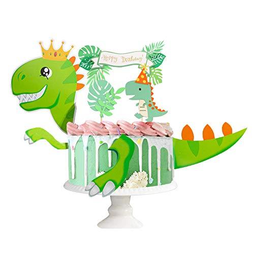 Dinosaurier Tortendeko Dino Kuchen Dekoration Dschungel-Kuchenaufsatz Dinosaurier Toppers für Geburtstag Tortendeko Junge