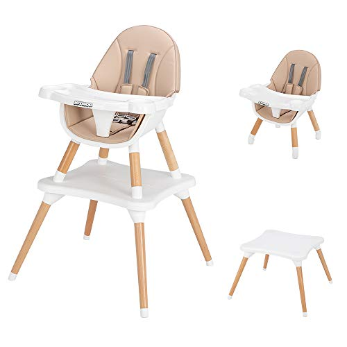 JOYMOR 5-in-1 Baby High Chair for Infants to Toddler, 4-Position Adjustable for Baby/Infants/Toddlers,Wooden Highchair Seats for Eating,Kids Table and Chair Set (Off White)