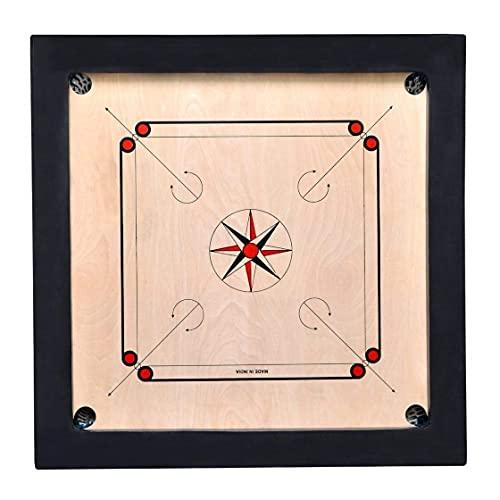 WorldOfIndianArt presenta un acabado mate (a prueba de agua) tamaño completo Carrom Board (36 x 36 pulgadas) libre de monedas, STIKER y polvo (combo grande de 36 pulgadas) (tamaño completo)