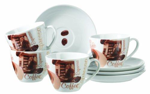 Mäser, Serie Latte Macchiato, Cappuccinotassen 200 ml, Porzellan Tassen und Untertassen im 8-er Set, Braun