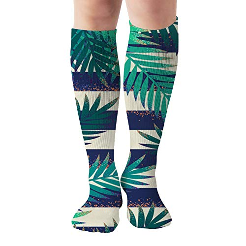 Palm Leaves Grunge Striped Vest Nature Compression Socks For Women&Men - Best Medical For Running Athletic Flight Travel Circulation Recovery,19.68 Inch