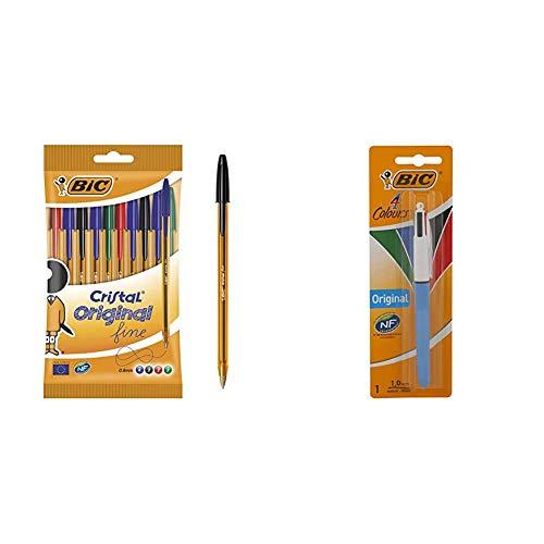 BIC Cristal Original Fine - Bolígrafos punta fina (0.8 mm), Blíster de 10 unidades, Surtidos + 4 Original bolígrafos Retráctiles punta media (1,0 mm) - Blíster de 1 Unidad