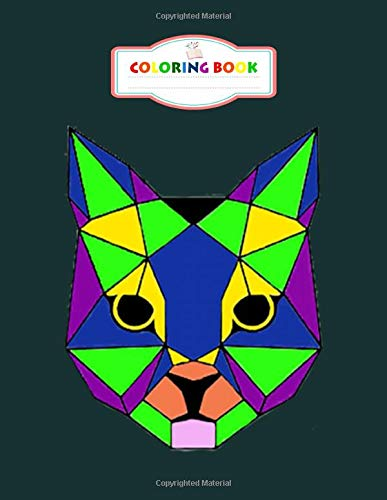 Coloring Book: geometric colorful cat   cat face - For Kids Aged 2-8 100 pages 8.5x11 inches