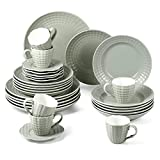suntun Juegos de Vajillas 30 piezas, Gris y Verde Vajillas de Porcelana 6 Platos de Sopa, 6 Platos Llanos, 6 Platos de...