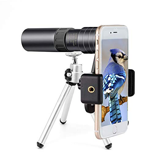 Monocular Telescope for Smartphone 4k 10-300x40mm - Monocular Telescope for Adults, Monocular Telescope Zoom for iPhone Waterproof, Fogproof, HD, Easy Focus- use for Hiking Hunting (Black monocular)