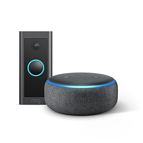 Ring Video Doorbell Wired by Amazon + Echo Dot (3rd Gen) – HD Video,...