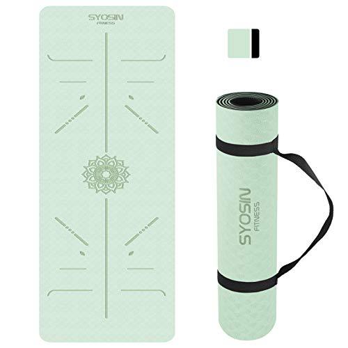 SYOSIN Yogamatte, TPE Gymnastikmatte rutschfest Fitnessmatte für Workout Umweltfreundlich Übungsmatte Sportmatte für Yoga, Pilates Heimtraining, 183 x 61 x 0.6CM (LIGHTGREEN)